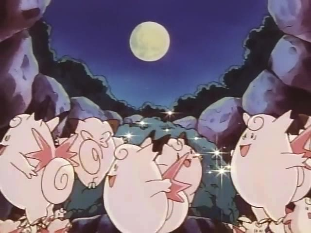 Clefairy and Clefable dancing around the Moon Stone